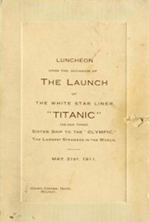 All'asta per 100 mila sterline il primo menù del Titanic